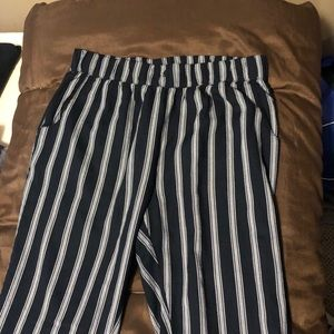 Striped black and white soft pants size M